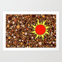Sun with Brown background Art Print