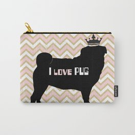I love Pug-Pink Carry-All Pouch