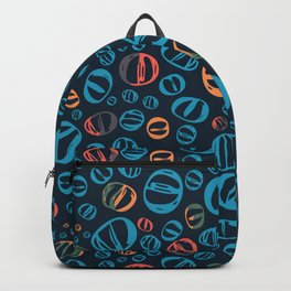 Dark Blue Abstract Bubble Pattern Backpack