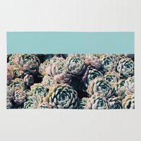succulents Area & Throw Rugs featuring Succulents by Leah Flores