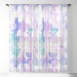 Dye Ovals Pink Turquoise Sheer Curtain