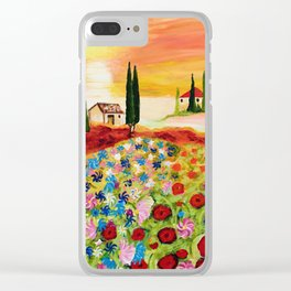 Tuscan Field of Poppies Clear iPhone Case