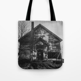 School's Out - Abandoned Schoolhouse in Iowa in Black and White Tote Bag