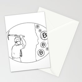 Bitcoin Miner Cryptocurrency Drawing Stationery Cards