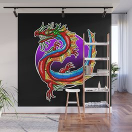 Chinese Dragon In The Moonlight - Black Background Wall Mural