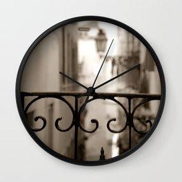 Lisbon street bokeh Wall Clock