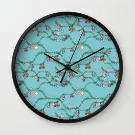 Holiday cheer soft blue Wall Clock