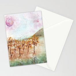 Watercolor Pink Moon Landscape Stationery Cards