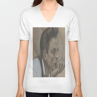 johnny cash V-neck T-shirts featuring Johnny Cash by Tex Bigrancher