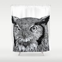 owl Shower Curtains featuring Owl by Puddingshades