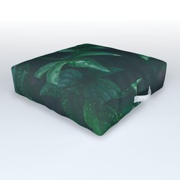 Green Leaves with Water Droplet - Nature Photography Outdoor Floor Cushion
