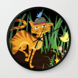 Mister Kitty And His Bird Friends Wall Clock