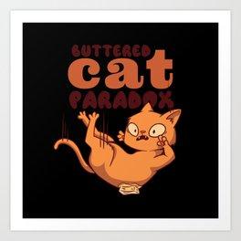Buttered cat paradox falling cat cartoon butter Art Print