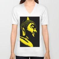 buddah V-neck T-shirts featuring Buddah Head 01; Gold  by Kether Carolus