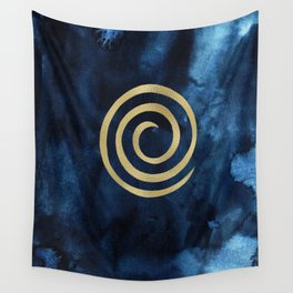 Infinity Navy Blue And Gold Abstract Modern Art Painting Wall Tapestry