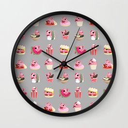 Rosa food collage grey Wall Clock