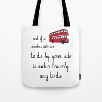 the smiths Tote Bags featuring The Smiths by Whiteland