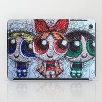 powerpuff girls iPad Cases featuring powerpuff girls doodle/scribble by Patricia Pedroso