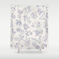 zodiac Shower Curtains featuring Zodiac Constellations by zizilka