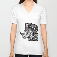 ram V-neck T-shirts featuring Ram by turquoisecactus