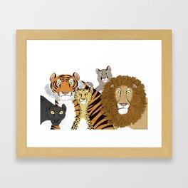 Surprised Big Cats Framed Art Print