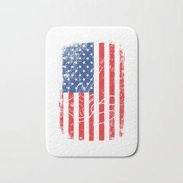 American Flag With A Minimal Illustration Of A Guitar T-shirt Design White Musician Band Muscians Bath Mat