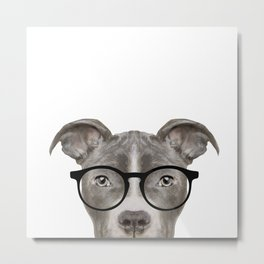 Pit bull with glasses Dog illustration original painting print Metal Print