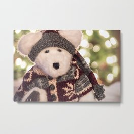 Cuddly Christmas Stuffed Polar Bear Toy in Sweater Metal Print