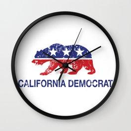 California Political Democrat Bear Distressed Wall Clock