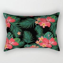 Tropical Black Rectangular Pillow