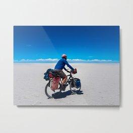 Cycling on Salar de Uyuni. Metal Print