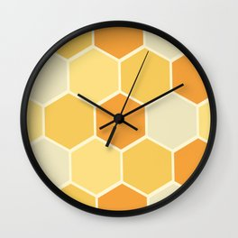 Yellow Honeycomb Wall Clock