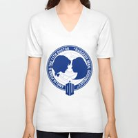 amy pond V-neck T-shirts featuring Doctor Who pals: Matt Smith & Amy Pond by logoloco