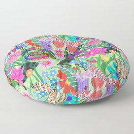 Butterfly and Moths Pattern - Green Floor Pillow
