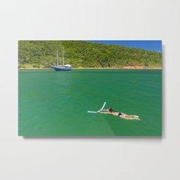 Woman swimming in green waters in Brazil Metal Print
