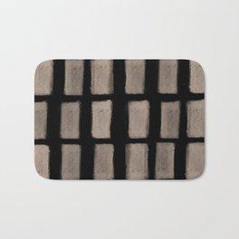 Brush Strokes Vertical Lines Nude on Black Bath Mat