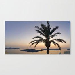 Palm sunset Santorini Canvas Print