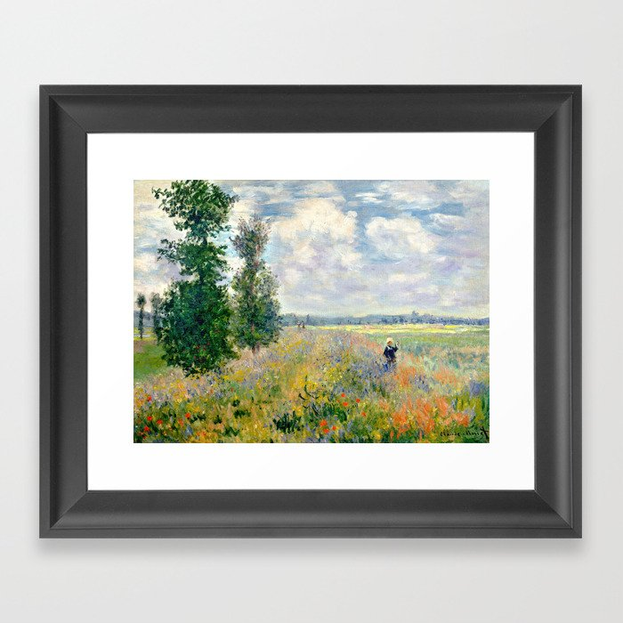 Poppy Fields near Argenteuil by Claude Monet Gerahmter Kunstdruck