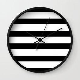 Black and White Horizontal Stripes Wall Clock
