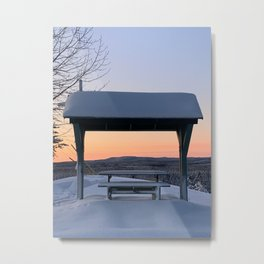 Picnic Table Winter Sunset Metal Print