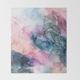 Heavenly Pastels: Original Abstract Ink Painting Throw Blanket