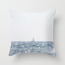 Sail Boat on the Ocean Seascape Beach Colored Wall Art Print Throw Pillow
