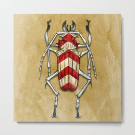 Stripped Psalidognathus Beetle Metal Print