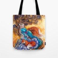 kitsune Tote Bags featuring Kitsune by Nemeth Alina