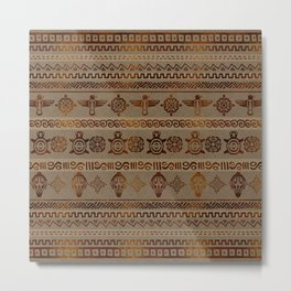 Maya / Aztec  pattern Burn gold on canvas Metal Print