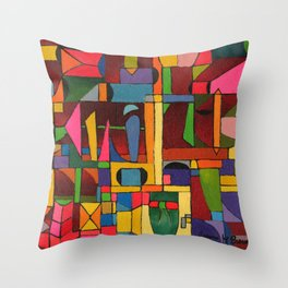 Colors In Collision 1 - Geometric Abstract of Colors that Clash Throw Pillow