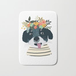PUPPY DOG WITH FLOWERS Bath Mat