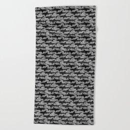 Gray and Black Shark Pattern Beach Towel