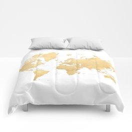 Gold world map with countries and states labelled Comforters