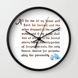 The Forget-Me-Not Garden of Books Wall Clock